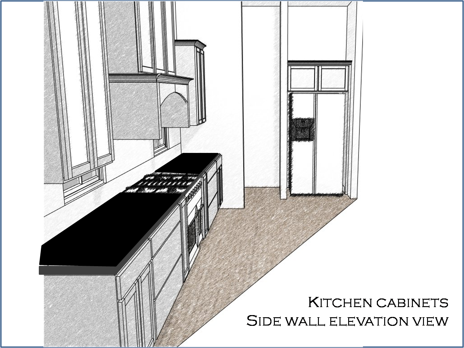 Kitchen Cabinets Side Elevation View